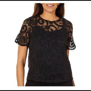 Nanette Lepore Lace Bow Tie Back Top NWT